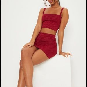PrettyLittleThing Burgundy Rib Set